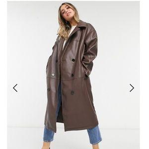 ASOS DESIGN leather look oversized coat in brown